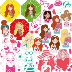 girly sticker set stickers anne sara