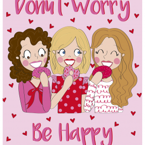 a4 poster donut worry be happy anne sara