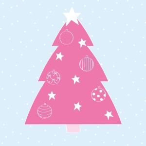 kerst kaart roze kerstboom ster