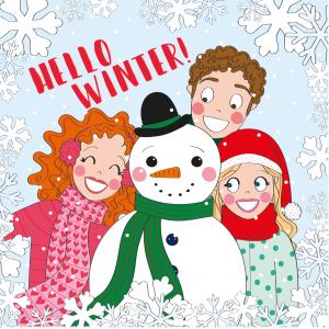 kerstkaart winter sneeuw meisjes