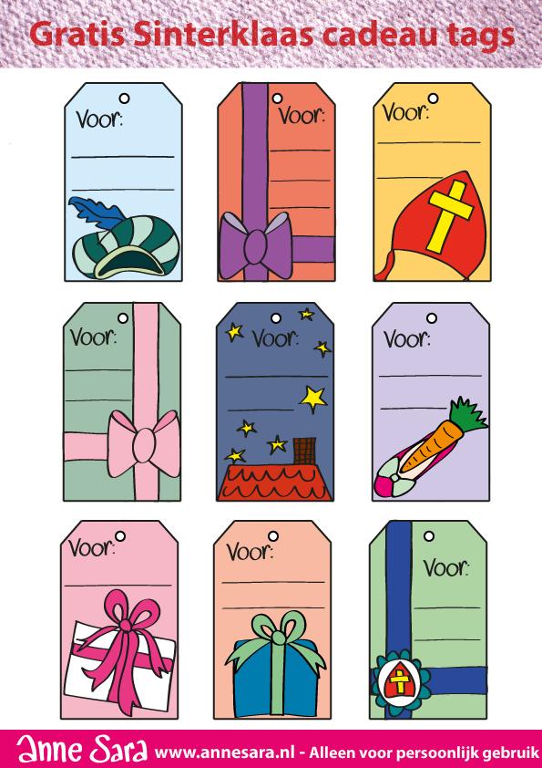 Adventkalender: Sinterklaas cadeaulabels gratis printable