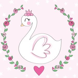 zwaan kaart zwaantje roze baby meisje illustratie