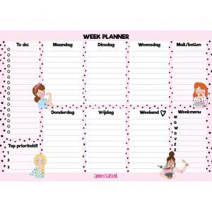 weekplanner – roze stippen – weekmenu – annesara