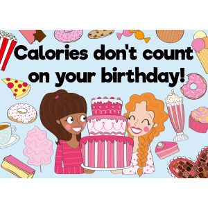 calories dont count on your birthday verjaardagskaart annesara quote