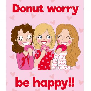 donut worry be happy kaart roze annesara