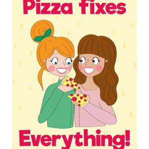 pizza kaart vriendinnen anne sara