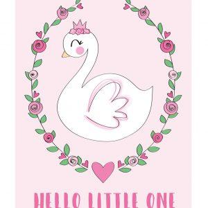 zwaan kaart roze baby kinder annesara