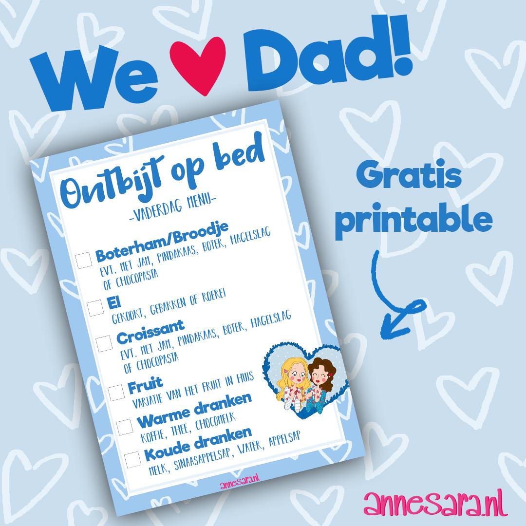 Vaderdag – Ontbijt op bed menu – Gratis printable