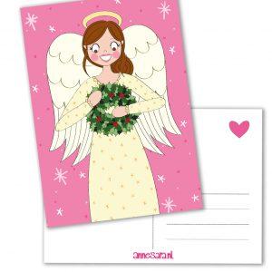 Kerst engeltje kerstkrans anne sara kaart