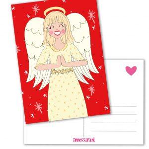 engel kerst bidden kerstkaart