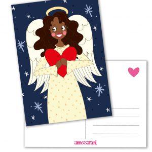 kerstengel kaart hartje liefde