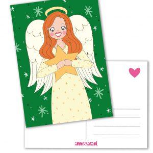kerst engel kaart ster rood haar