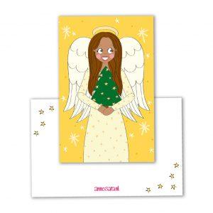 kerst engel label mini kaartje annesara