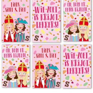 sinterklaas set label kaarten