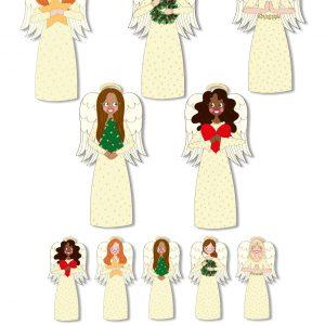 Stickers kerst engeltjes anne sara