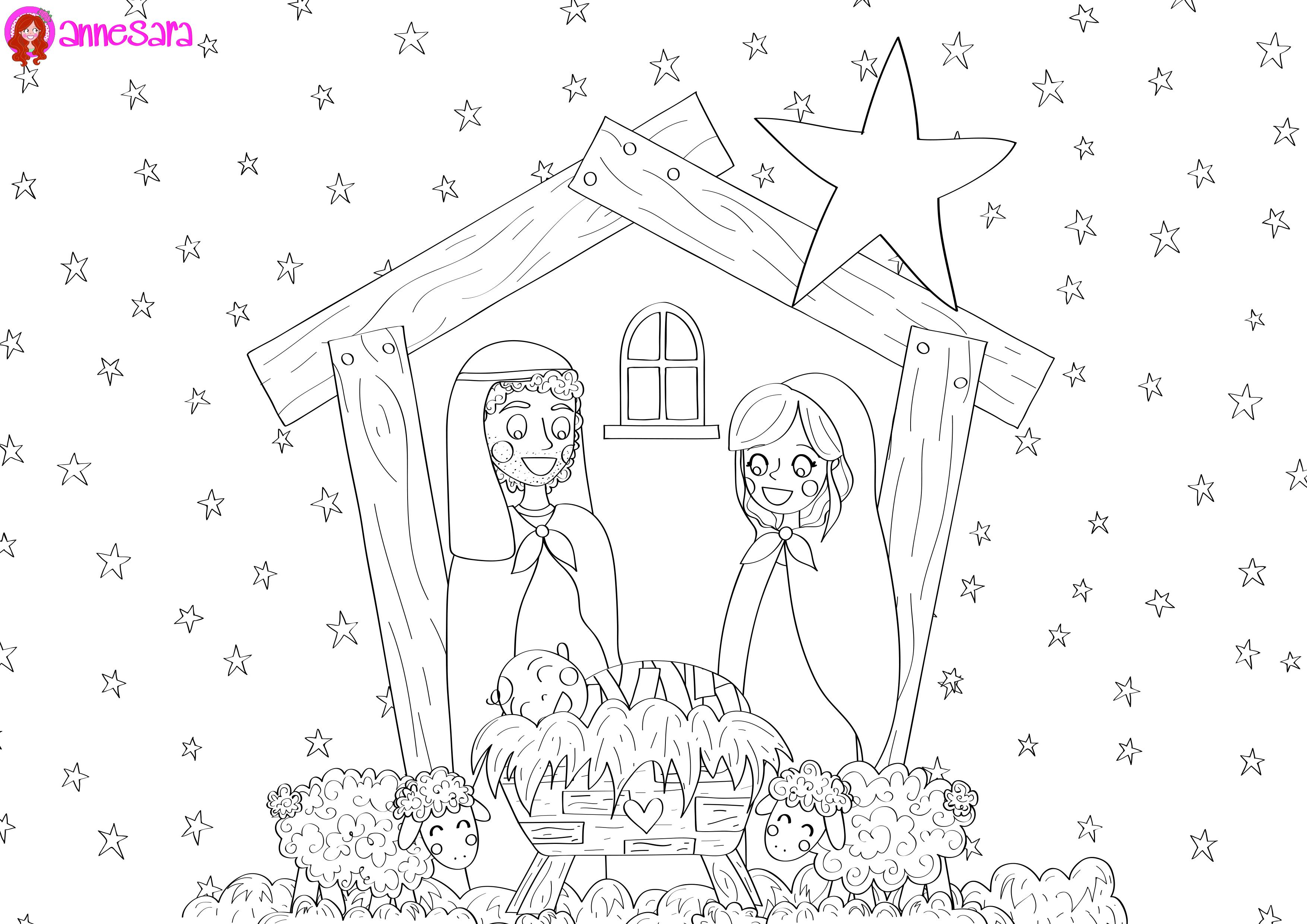 Kleurplaten Kerst A4.Freebie Anne Sara